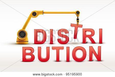 Industrial Robotic Arm Building Distribution Word