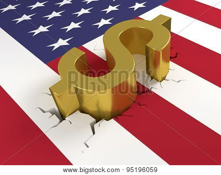 Dollar On Crashed Us Flag