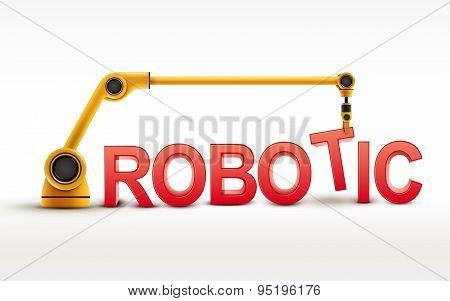 Industrial Robotic Arm Building Robotic Word