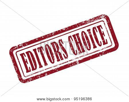 Stamp Editors Choice In Red Text On White