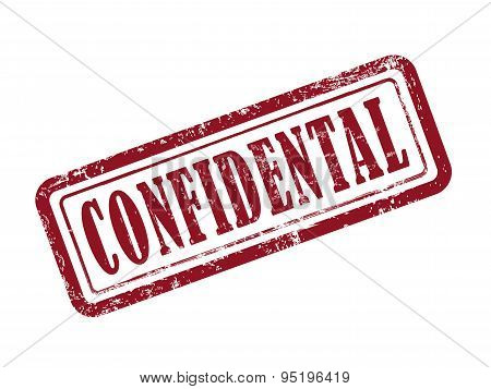 Stamp Confidential In Red Text On White