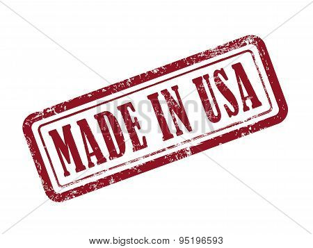 Stamp Made In Usa In Red Text On White