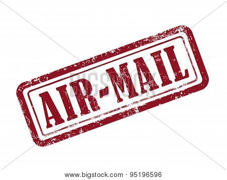 Stamp Air-mail In Red Text On White
