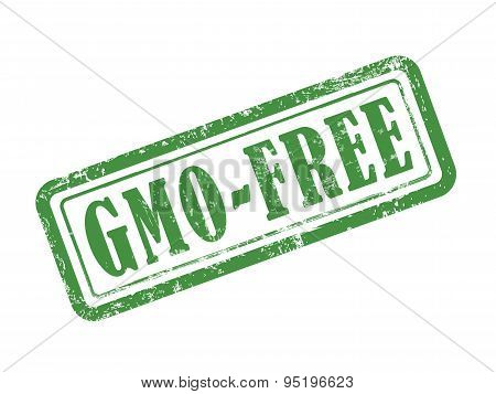 Stamp Gmo-free In Green Text On White