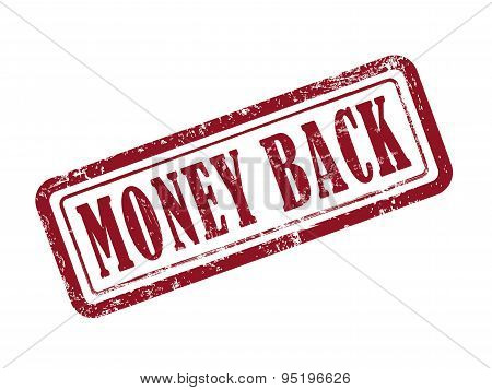 Stamp Money Back In Red Text On White