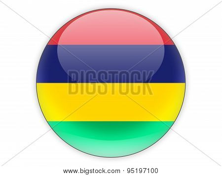 Round Icon With Flag Of Mauritius