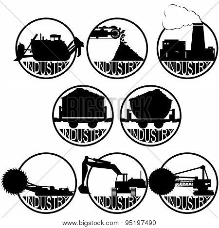 Icons coal mining industry. The illustration on a white background.