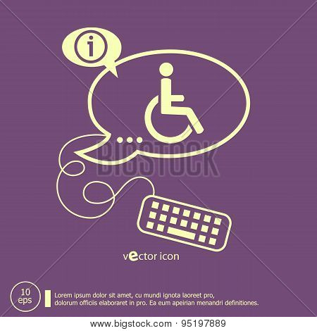 Disabled Handicap Icon And Keyboard Design Elements