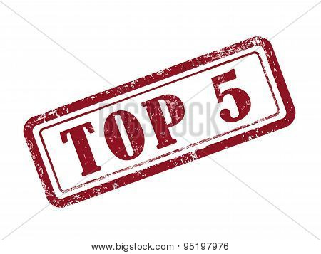 Stamp Top 5 In Red