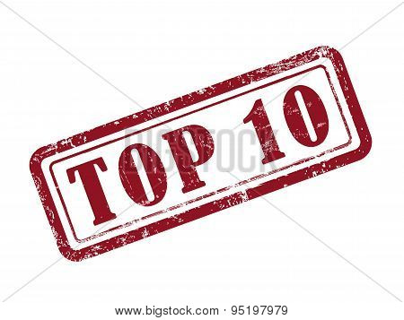 Stamp Top 10 In Red
