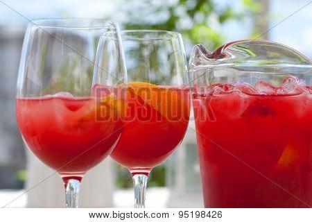 Red Raspberry Lemonade In Glass Jug