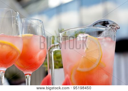 Watermelon  Cold Drink In Glass Jug