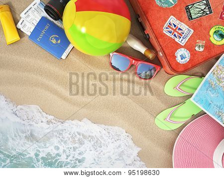 Travel Concept. Sunbed,  Map, Beach Shoes, Sunscreen, Passport, Air Tickets, Beach