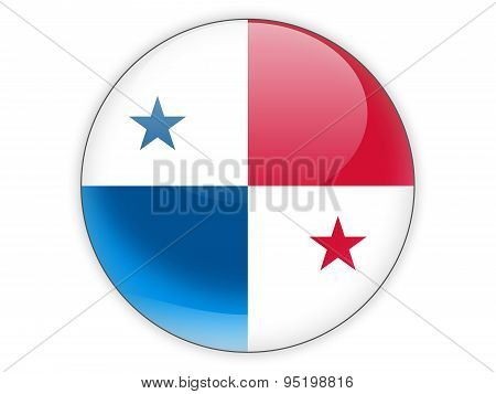 Round Icon With Flag Of Panama