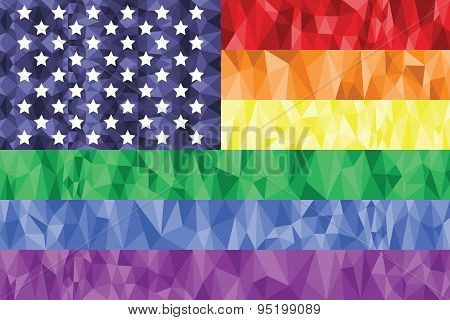 American Flag On The Rainbow Background
