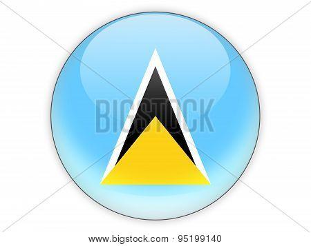 Round Icon With Flag Of Saint Lucia