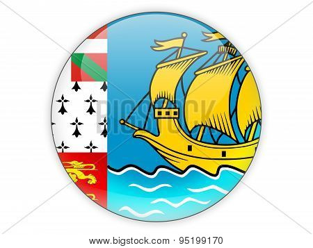 Round Icon With Flag Of Saint Pierre And Miquelon