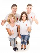 pic of hiv  - Group of young positive people with red ribbon supporting AIDS HIV prevention - JPG
