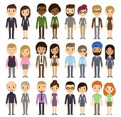 pic of cartoon people  - Set of diverse business people isolated on white background - JPG