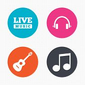 Постер, плакат: Musical elements icon Music note and guitar