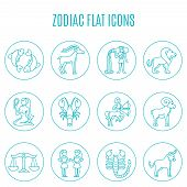 stock photo of pisces horoscope icon  - Zodiac icon line set with esoteric fortune telling symbols isolated vector illustration - JPG