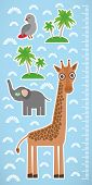 image of measuring height  - Giraffe parrot bird and palms on blue background Children height meter wall sticker - JPG