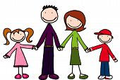 picture of family love  - illustration of daughter father mother and son holding hands - JPG