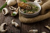 pic of whole-grain  - Mushroom soup with chive and herbs bio healthy whole - JPG