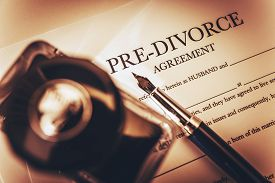 foto of divorce-papers  - Pre Divorce Agreement Document Ink-Bottle and the Fountain Pen. Divorce Documentation Photo Concept. ** Note: Shallow depth of field - JPG
