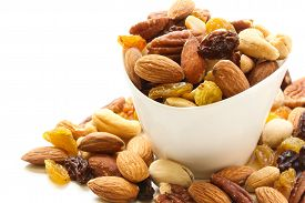 stock photo of mixed nut  - Mixed Nuts Healthy snack close up shot - JPG