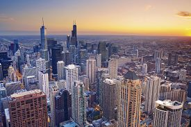 picture of willy  - Aerial view of Chicago downtown at twilight from high above - JPG