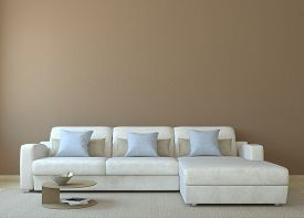 stock photo of couch  - Modern living - JPG