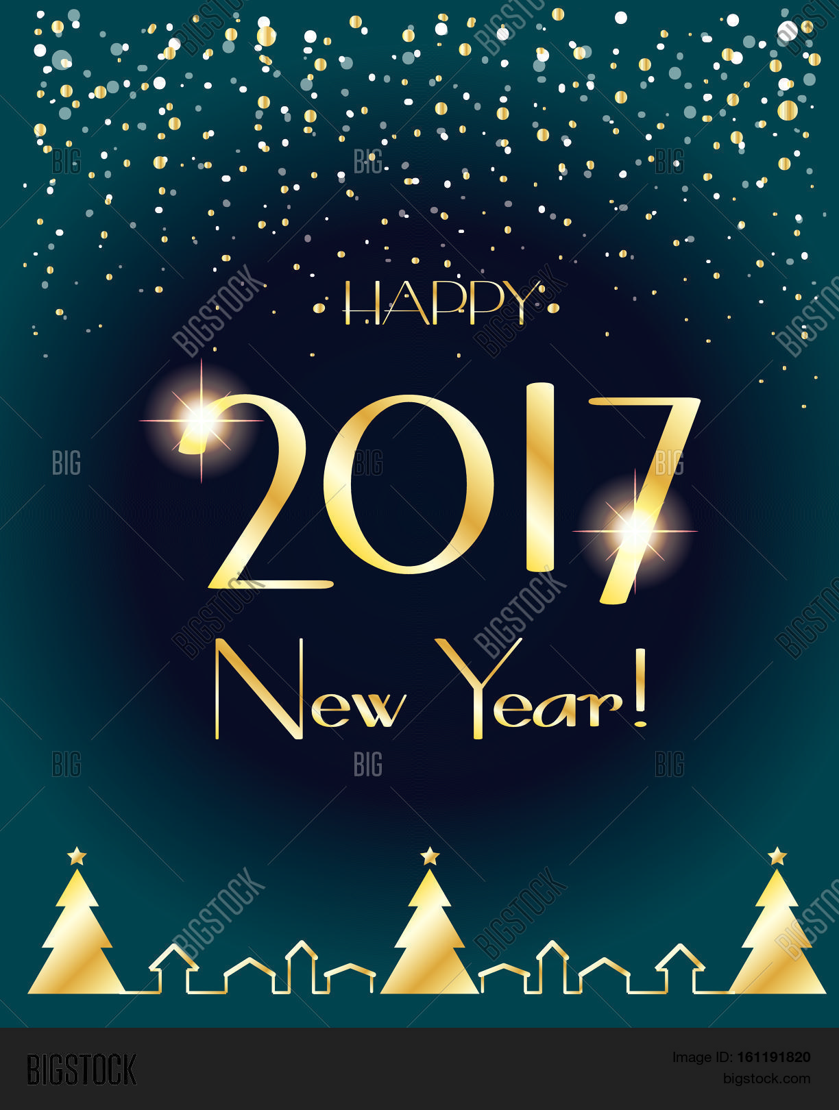 Happy New Year 2017 greeting card with gold Christmas ...