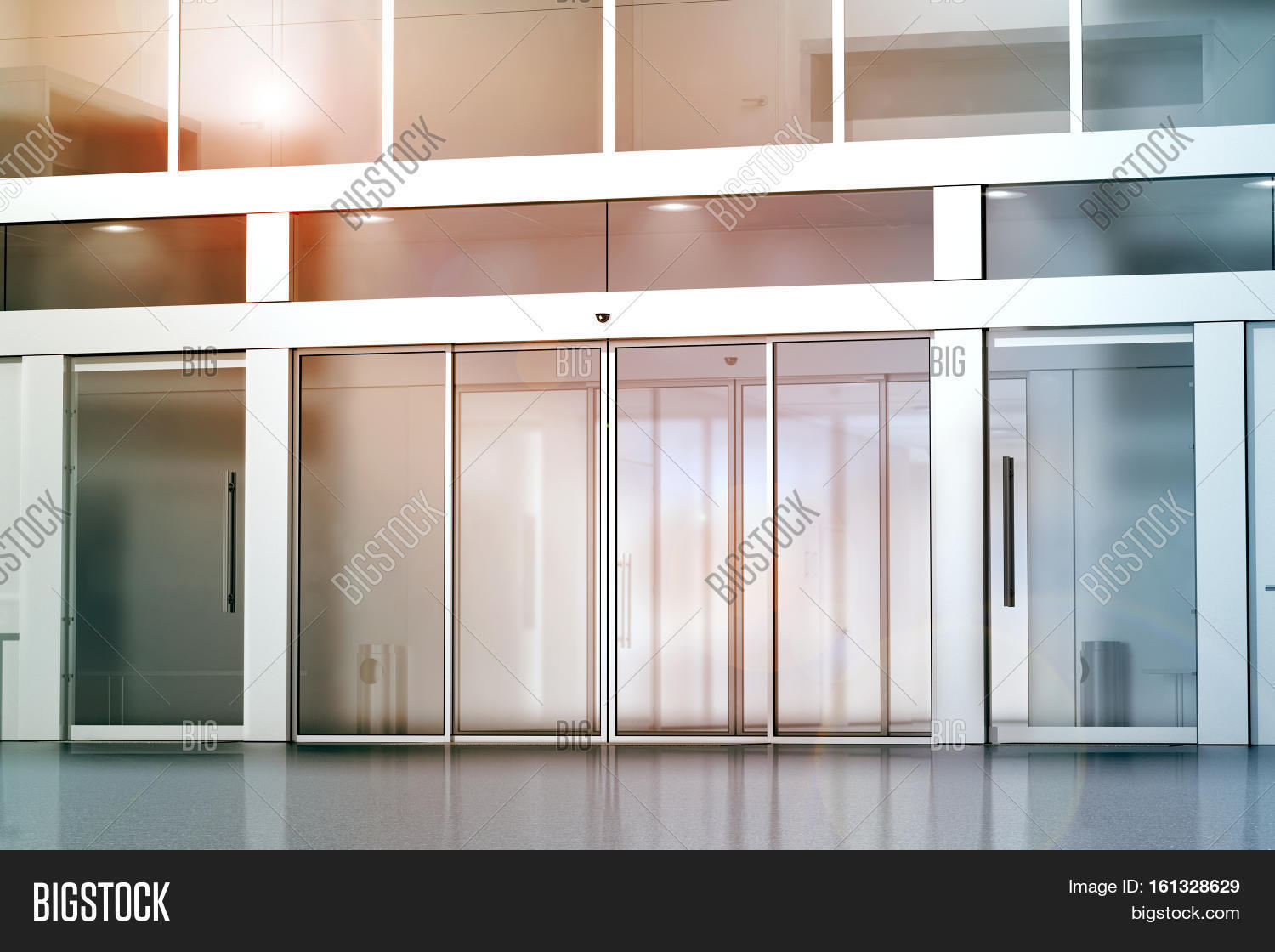 Exterior glass office door - Blank Sliding Glass Doors Entrance Mockup 3d Rendering Commercial Building Entry Mock Up Office