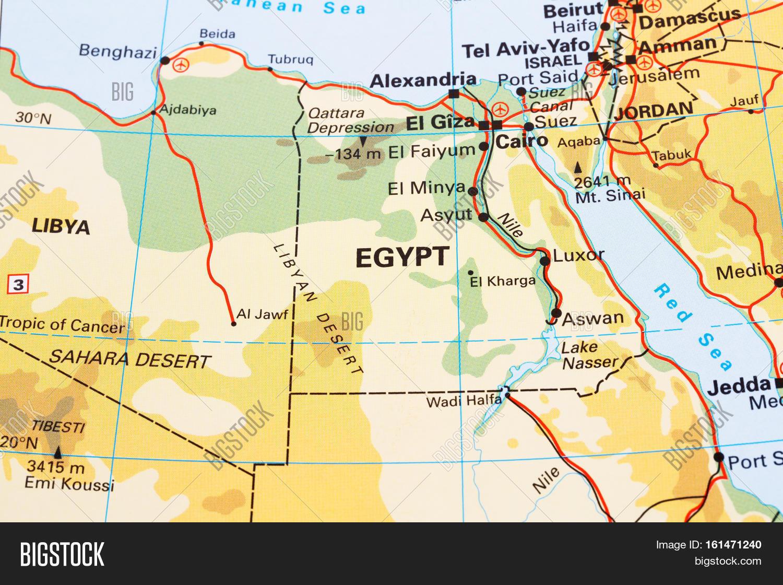 Egypt Physical Map Horizontal Close Image Photo Bigstock - Egypt physical map