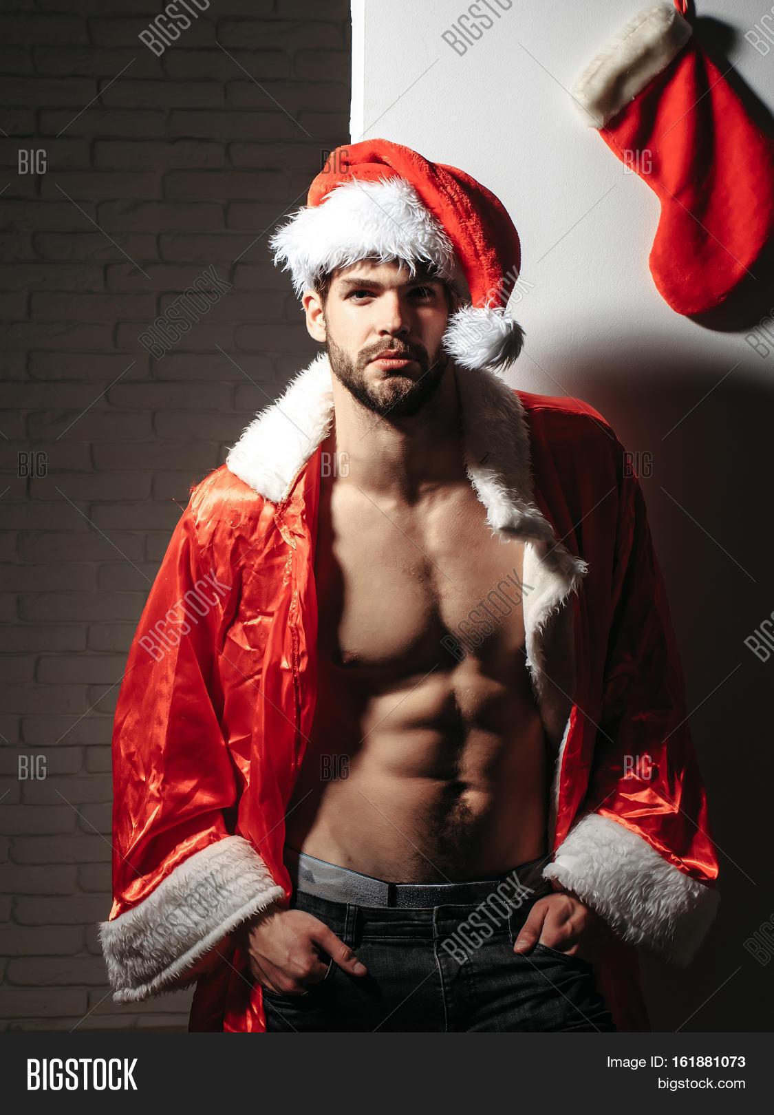handsome sexy christmas xmas man image photo bigstock. Black Bedroom Furniture Sets. Home Design Ideas