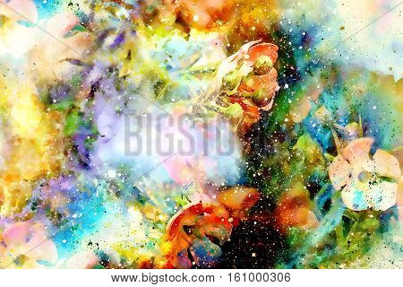 Cosmic space with flowers, color galaxy background, computer collage
