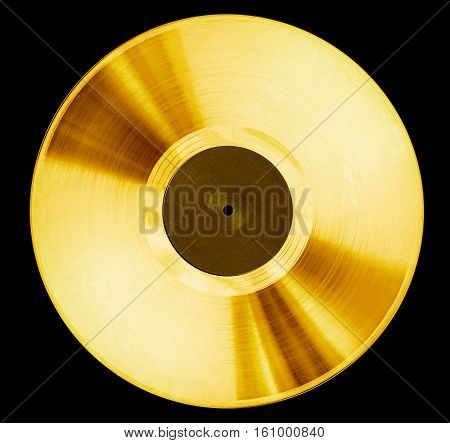 old record music disc award isolated on black