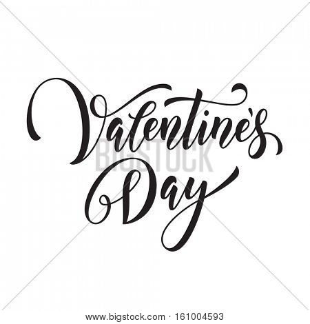 Valentine Day text font. Hand drawn vector calligraphy. 14 February Saint Valentines day label for poster, banner, placard vector design element. Greeting card lettering hand drawn monogram