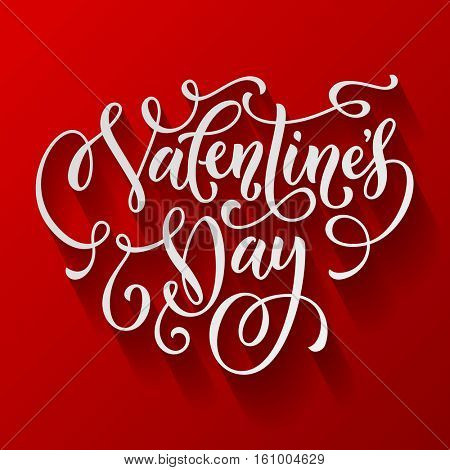 Valentine Day text calligraphy on red heart background. Greeting card lettering hand drawn monogram. 14 February Saint Valentines love day label for poster, banner, placard vector design element