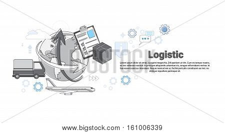 Logistic Shipping Delivery Service Web Banner Thin Line Vector Illustration