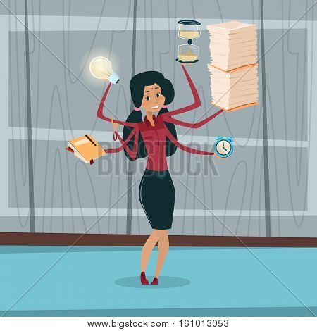 Indian Business Woman With Many Hands Multitasking Overworked Office Interior Mix Race Businessman Flat Vector Illustration
