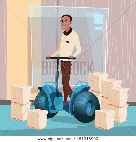 Mix Race Business Man Ride Electric Scooter Modern Transport Office Interior Paperwork Flat Vector Illustration