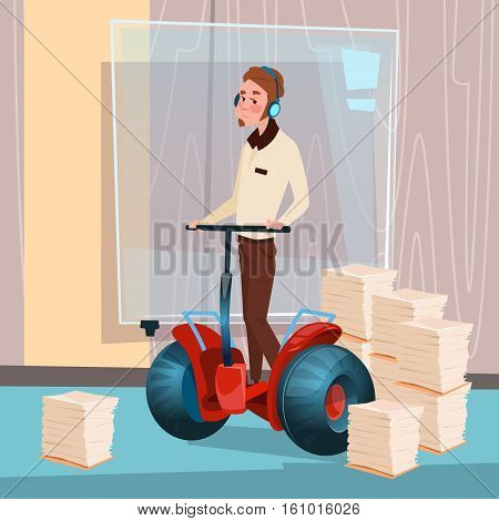 Business Man Ride Electric Scooter Modern Transport Office Interior Paperwork Flat Vector Illustration