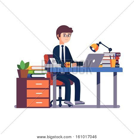 Business man entrepreneur in a suit working at his office desk. Modern colorful flat style vector illustration isolated on white background.