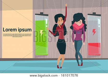 Two Businesswoman Active And Tired Business Woman Full Low Battery Flat Vector Illustration