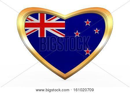 Flag Of New Zealand In Heart Shape, Golden Frame