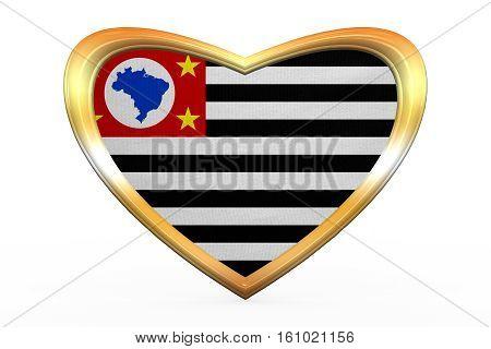 Sao Paulo, Brazil State Flag In Golden Heart Shape