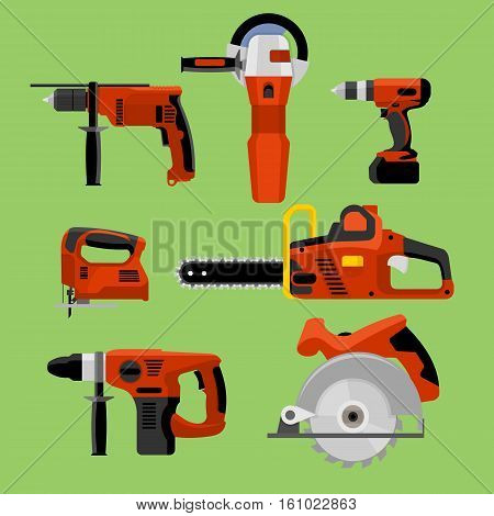 Power tools icons set: drill, hammer, screwdriver, jigsaw, electric saw, angle grinder and circular electric saw