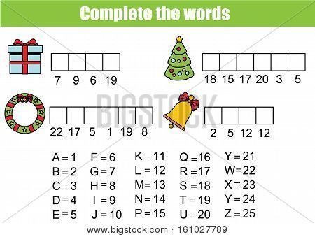 Complete the words using cipher code. Children educational game. Christmas, new year theme, learning numbers and vocabulary